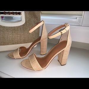 "J.McLaughlin raffia ""Madison""block heels"